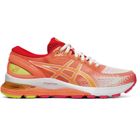 asics Gel-Nimbus 21 Shoes Dame white/sun coral